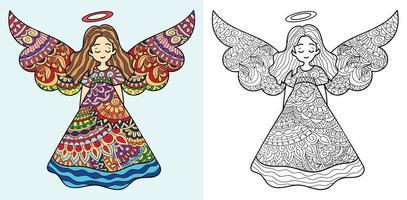 Doodle page de livre de coloriage de fée pour adultes et enfants. décoratif rond blanc et noir. modèles de thérapie anti-stress orientaux. enchevêtrement zen abstrait. illustration vectorielle de yoga méditation. vecteur