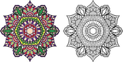 Doodle page de livre de coloriage mandala pour adultes et enfants. décoratif rond blanc et noir. modèles de thérapie anti-stress orientaux. enchevêtrement zen abstrait. illustration vectorielle de yoga méditation. vecteur