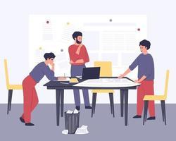 élaboration d'un plan stratégique par un groupe de jeunes entrepreneurs vecteur