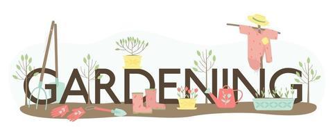 lettrage de jardinage et un ensemble de fournitures pour planter des plantes vecteur