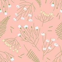 modèle sans couture de fleurs de printemps dispersées sur fond rose vecteur