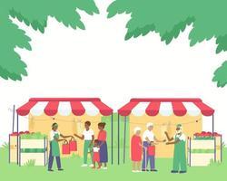 les vendeurs dans les étals de légumes servent les acheteurs vecteur