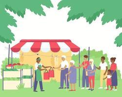 Une file d'attente au comptoir de légumes d'un agriculteur afro-américain