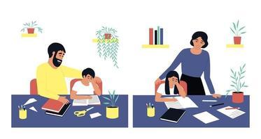 les parents aident leurs enfants à faire leurs devoirs vecteur