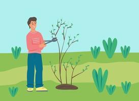 agriculteur coupant un arbre