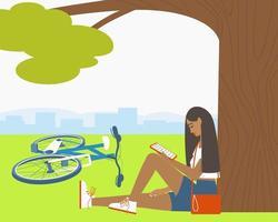 une fille lit un livre électronique dans un parc vecteur