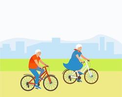 Couple âgé fait du vélo dans un parc à l'extérieur de la ville vecteur