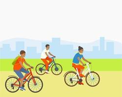 famille fait du vélo dans un parc à l'extérieur de la ville vecteur