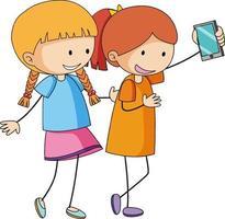 personnage de dessin animé de deux filles prenant un selfie dans un style doodle dessiné à la main isolé