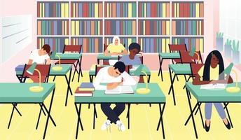 bibliothèque étudiante dans un style plat vecteur