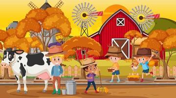 scène de ferme avec de nombreux personnages de dessins animés pour enfants et animaux de la ferme vecteur