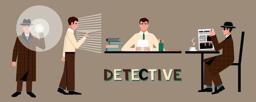 un ensemble d'un détective dans un chapeau avec une lampe de poche, à une table, près de la fenêtre, dans un café. vecteur
