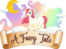 une police de conte de fées avec un personnage de dessin animé de licorne debout sur un nuage vecteur
