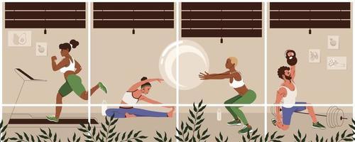 différents jeunes exerçant dans une salle de sport moderne. mode de vie sain, concept de remise en forme. les hommes et les femmes font des exercices physiques. illustration vectorielle plane vecteur