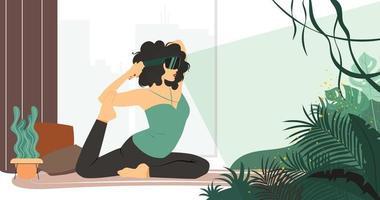 femme pratique le yoga à la maison dans des lunettes vr et regarde la jungle. faites du sport dans la nature sur l'auto-isolation avec des lunettes de réalité virtuelle. illustration vectorielle plane vecteur