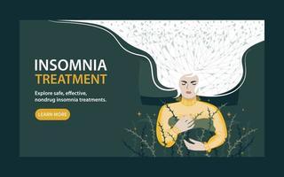 page de destination d'un site Web pour le traitement de l'insomnie. une jeune femme ne dort pas bien, sans repos et en situation de stress constant. illustration vectorielle plane