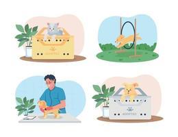Bannière web de vecteur de soins pour animaux de compagnie 2d, ensemble d'affiche