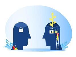 homme d & # 39; affaires porte une grande clé pour déverrouiller le concept de mentalité de croissance idée vecteur