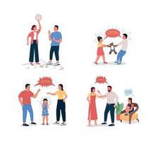 famille combattant le jeu de caractères détaillé de vecteur de couleur plate