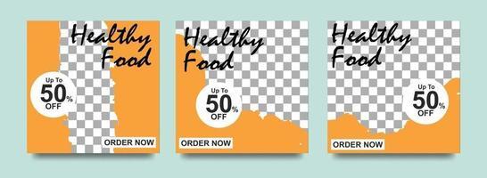 bannière de médias sociaux pour les entreprises alimentaires. modèle de médias sociaux de nourriture pour les entreprises de restauration. bannière de publication de modèle social moderne. modèle de poste de remise alimentaire.
