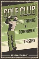 signe d'affiche de golf vintage rétro vecteur