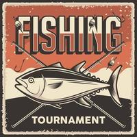 affiche du tournoi de pêche vintage rétro vecteur