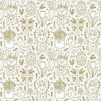 joyeuses fêtes de Pâques doodle dessin au trait. conception dorée. lapin, lapin, croix chrétienne, gâteau, poulet, œuf, poule, fleur, carotte. modèle sans couture, texture, arrière-plan. papier d'emballage.
