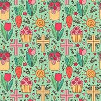 Joyeuses Pâques vacances doodle modèle sans couture. cupcake, gâteau, fleur de tulipe, croix chrétienne, soleil, carotte. conception de papier d'emballage.