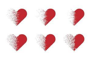 ensemble de coeurs avec un effet de dispersion. vecteur