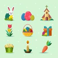 jeu d'icônes mignon joyeuses pâques vecteur