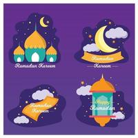 ramadan kareem badge et collection d'étiquettes. dessiné à la main. illustration vectorielle.