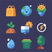 jeu d'icônes de sensibilisation amusant et soigné pour la journée de la terre vecteur