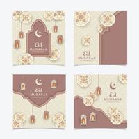 eid mubarak ensemble de publications sur les médias sociaux vecteur