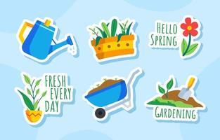collection d'autocollants de jardinage à la maison vecteur