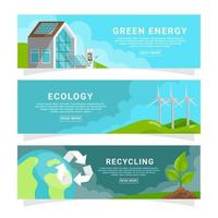 collection de bannières de technologie verte vecteur