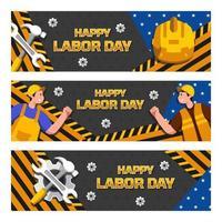 bonne collection de bannières de la fête du travail
