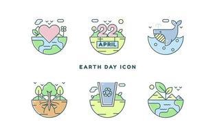 icône du jour de la terre dans le style de ligne vecteur