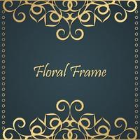 fond de cadre floral décoratif or de luxe vecteur