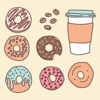 Doodles de nourriture de café vecteur