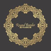 conception de cadre floral rond en or de luxe vecteur