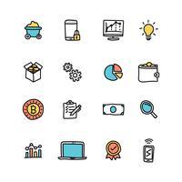 Doodled ensemble d'icônes d'exploration de données