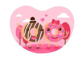 Donuts couple vecteur