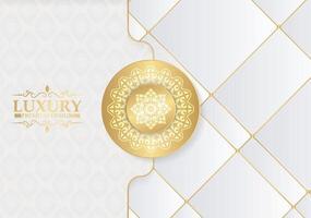 fond de mandala de luxe blanc et or vecteur
