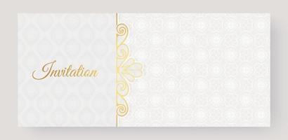motif ornemental de style de fond invitation blanche de luxe vecteur