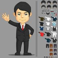 habiller le jeu actif dessin animé homme d & # 39; affaires exécutif vecteur mascotte