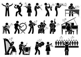 musiciens d'orchestre symphonique avec des instruments de musique icônes de pictogramme de bonhomme allumette. vecteur