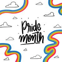Rainbows mignon et lettrage sur le mois de la fierté vecteur