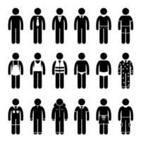 vêtements vêtements vêtements pour différentes occasions, temps et pictogramme d'activité. vecteur