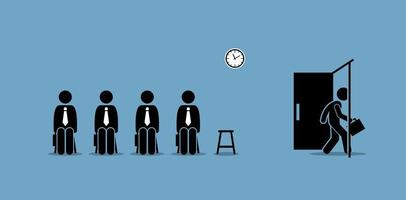 candidats à l'entretien d'embauche qui attendent à l'extérieur de la salle et un candidat franchit la porte. vecteur