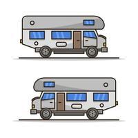 camping-car illustré sur fond blanc vecteur
